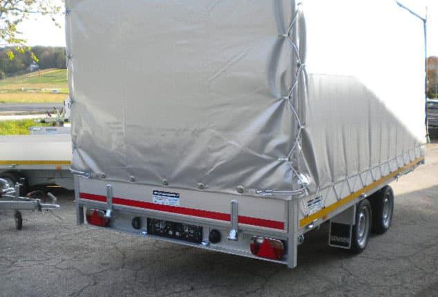 Multitransporter, Universaltransporter EDUARD, mit Plane, Farbe grau, Ansicht schräg von hinten