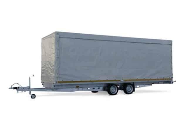 2 Achs Hochlader, Anhänger EDUARD, PKW Anhänger 2 Achs mit Aufbau und Plane, Farbe grau, Ansicht schräg seitlich, Hintergrund weiß