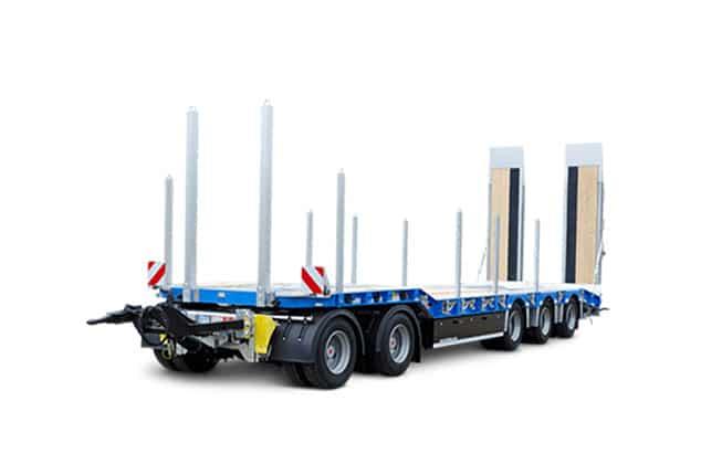 Original HUMBAUR PKW-Sondertransporter, PKW-Anhänger Sondertransporter, PKW Anhänger mit 6 Achsen, HUMBAUR PKW Sondertransporter, Ansicht von schräg vorne, Hintergrund weiß