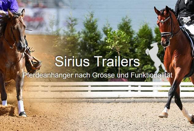 Sirius Trailers, Über Sirius PKW-Anhänger, Sirius PKW-Anhänger mit Pferden, Aufnahme im Freien