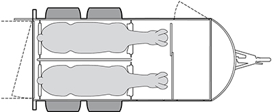 Anhänger Österreich, Pferdeanhänger, Sirius S150 Alu, Pferdeanhänger Sirius S150 Alu, Technische Ansicht, Boxenansicht Sirius S150 Alu, Ansicht von oben auf den Pferdeanhänger, Farbe schwarz/weiss