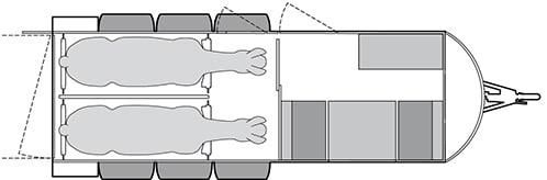 Anhänger Österreich, Pferdeanhänger, Sirius S190 Alu, Pferdeanhänger Sirius S190 Alu Cariage, Technische Ansicht, Boxenansicht Sirius S190 Alu Cariage, Ansicht von oben auf den Pferdeanhänger, Farbe schwarz/weiss, geeignet für zwei Pferde