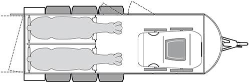 Anhänger Österreich, Pferdeanhänger, Sirius S190 Alu, Pferdeanhänger Sirius S190 Alu, Technische Ansicht, Boxenansicht Sirius S190 Alu, Ansicht von oben auf den Pferdeanhänger, Farbe schwarz/weiss, geeignet für zwei Pferde
