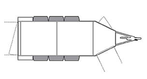 Anhänger Österreich, Pferdeanhänger, Sirius S70 Alu, Pferdeanhänger Sirius S70 Alu Variable, Technische Ansicht, Boxenansicht Sirius S70 Alu Variable, Ansicht von oben auf den Pferdeanhänger, Farbe schwarz/weiss