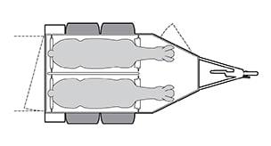 Anhänger Österreich, Pferdeanhänger, Sirius S75 Alu, Pferdeanhänger Sirius S75 Alu, Technische Ansicht, Boxenansicht Sirius S75 Alu, Ansicht von oben auf den Pferdeanhänger, Farbe schwarz/weiss, geeignet für zwei Pferde