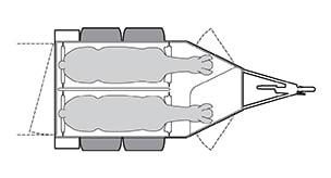 Anhänger Österreich, Pferdeanhänger, Sirius S75 Alu, Pferdeanhänger Sirius S75 Alu, Technische Ansicht, Boxenansicht Sirius S75 Alu, Ansicht von oben auf den Pferdeanhänger, Farbe schwarz/weiss, geeignet für zwei Pferde, mit Sattelkammer