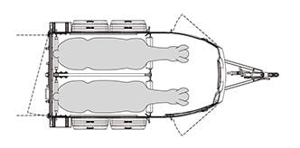 Anhänger Österreich, Pferdeanhänger, Sirius S77 Polyester, Pferdeanhänger Sirius S77 Polyester, Technische Ansicht, Pferdeanhänger Sirius S77, Ansicht von oben auf den Pferdeanhänger, Farbe schwarz/weiss, geeignet für zwei Pferde