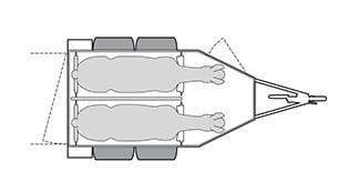 Anhänger Österreich, Pferdeanhänger, Sirius S77 Alu, Pferdeanhänger Sirius S77 Alu, Technische Ansicht, Pferdeanhänger Sirius S77, Ansicht von oben auf den Pferdeanhänger, Farbe schwarz/weiss, geeignet für zwei Pferde