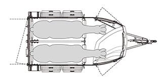 Anhänger Österreich, Pferdeanhänger, Sirius S77 Alu mit Polyesterfront, Pferdeanhänger Sirius S77 Alu, Technische Ansicht, Pferdeanhänger Sirius S77 mit Sattelkammer, Ansicht von oben auf den Pferdeanhänger, Farbe schwarz/weiss, geeignet für zwei Pferde