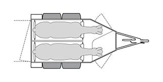 Anhänger Österreich, Pferdeanhänger, Sirius S77 Alu, Pferdeanhänger Sirius S77 Alu, Technische Ansicht, Pferdeanhänger Sirius S77 mit Sattelkammer, Ansicht von oben auf den Pferdeanhänger, Farbe schwarz/weiss, geeignet für zwei Pferde