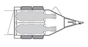 Anhänger Österreich, Pferdeanhänger, Sirius S80 Alu, Pferdeanhänger Sirius S80 Alu, Technische Ansicht, Pferdeanhänger Sirius S80 Alu, Ansicht von oben auf den Pferdeanhänger, Farbe schwarz/weiss, geeignet für zwei Pferde