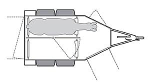 Anhänger Österreich, Pferdeanhänger, Sirius S80 Alu, Pferdeanhänger Sirius S80 Alu Front Exit, Technische Ansicht, Pferdeanhänger Sirius S80 Alu Front Exit, Ansicht von oben auf den Pferdeanhänger, Farbe schwarz/weiss, geeignet für zwei Pferde