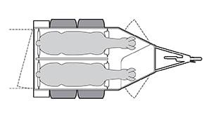 Anhänger Österreich, Pferdeanhänger, Sirius S80 Alu, Pferdeanhänger Sirius S80 Alu, Technische Ansicht, Pferdeanhänger Sirius S80 Alu mit Sattelkammer, Ansicht von oben auf den Pferdeanhänger, Farbe schwarz/weiss, geeignet für zwei Pferde